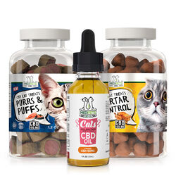 MediPets CBD for Cats Bundle - Pet CBD Oil - 100mg; Treats-Purrs & Puffs; Treats-Cat Cafe Tartar Control