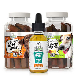 MediPets CBD for Large Dogs Bundle - CBD Pet Oil 350mg; Treats-Meaty Steak Treats; Wavy Bacon & Cheese Bites
