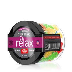Relax Gummies - CBD Full Spectrum Sour Gummy Bears - 2500mg