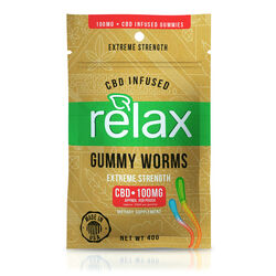 Relax Gummies - CBD Infused Gummy Worms - 100mg