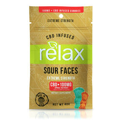 Relax Gummies - CBD Infused Sour Faces - 100mg