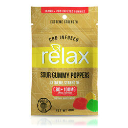 Relax Gummies - CBD Infused Sour Gummy Poppers - 100mg